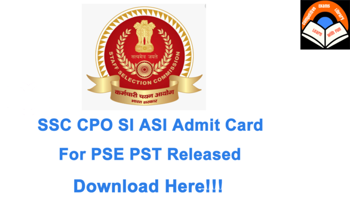 SSC CPO Admit Card 2020