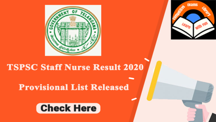 TSPSC Staff Nurse Result 2020