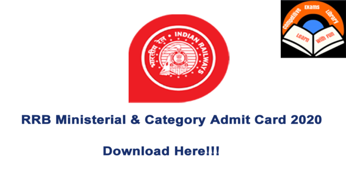 RRB Ministerial and Isolated Category Admit Card 2020